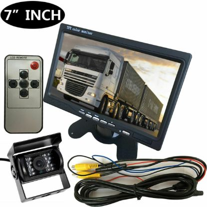 "Picture of 12V/24V Car Reversing Camera RCA+ 7"" LCD Monitor Truck Bus Van Rear View Kit+10M"