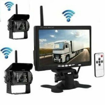 "Picture of Rear Cam Wireless Car Reversing Camera Kit + 7"" TFT LCD Monitor 12V 24V"