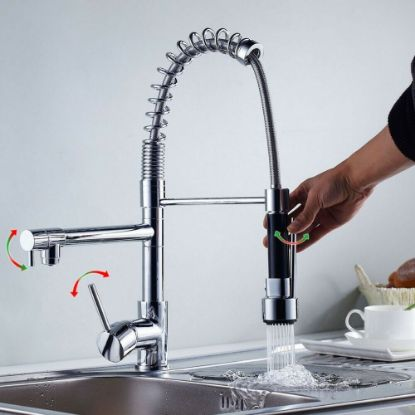 Picture of 360° Swivel Pull Out Spray Taps Mixer Kitchen Sink Mixing Tap Spring Neck Chrome