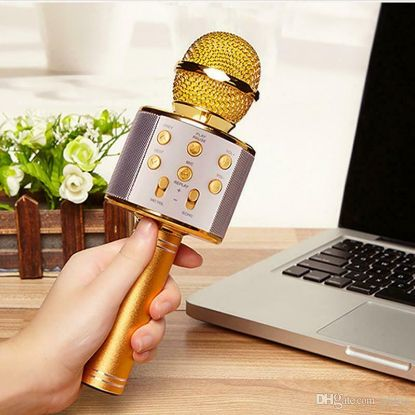 Picture of Portable Wireless Bluetooth 4.0 Hand Held Karaoke Microphone Speaker Player