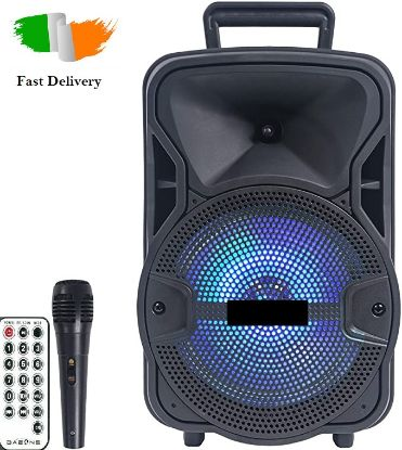 "Picture of Portable Party Speaker 8"" USB Bluetooth FM Control Loud Bass Sound Rechargeable"